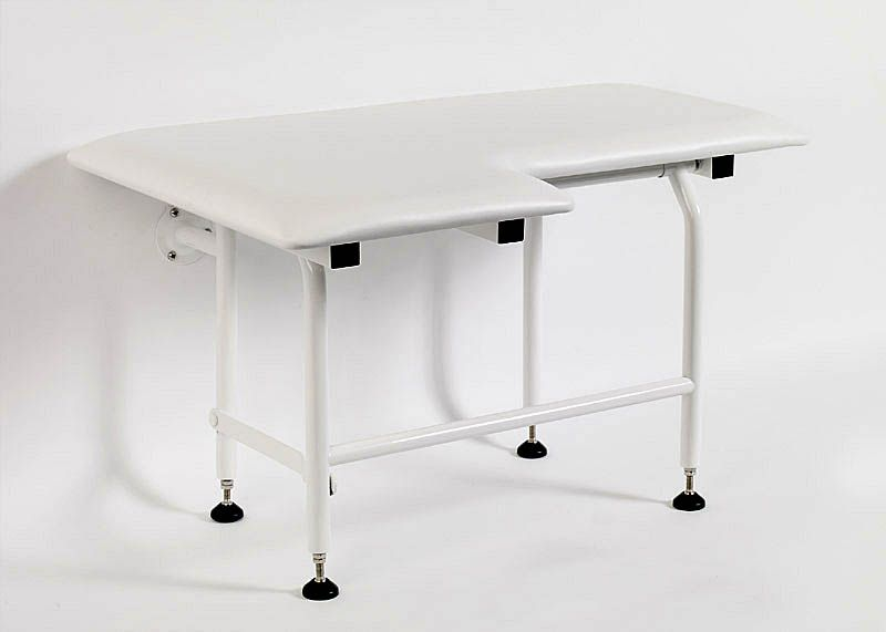 GBS - White Padded Fold-Down Shower Seat w/Legs POWDER COATED STAINLESS STEEL FRAME