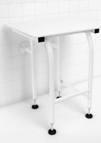 GBS - 22 Inch - White Padded Shower Seat w/Legs WHITE POWDER COATED
