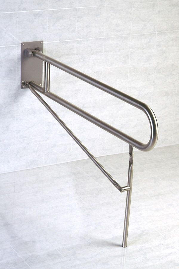 1-1 4 Inch Dia. Friction Hinge 42 Inch Flip-Up Safety Grab Bar - With Legs