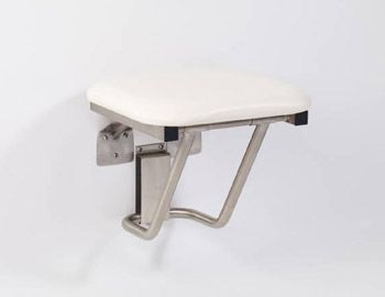 GBS - White - JR Rectangular Padded Fold-Down Shower Seat