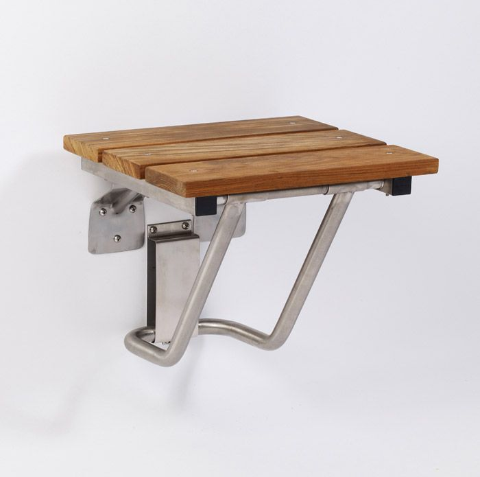 Gbs Natural Teak Wood Jr Rectangular Fold Down Shower Seat