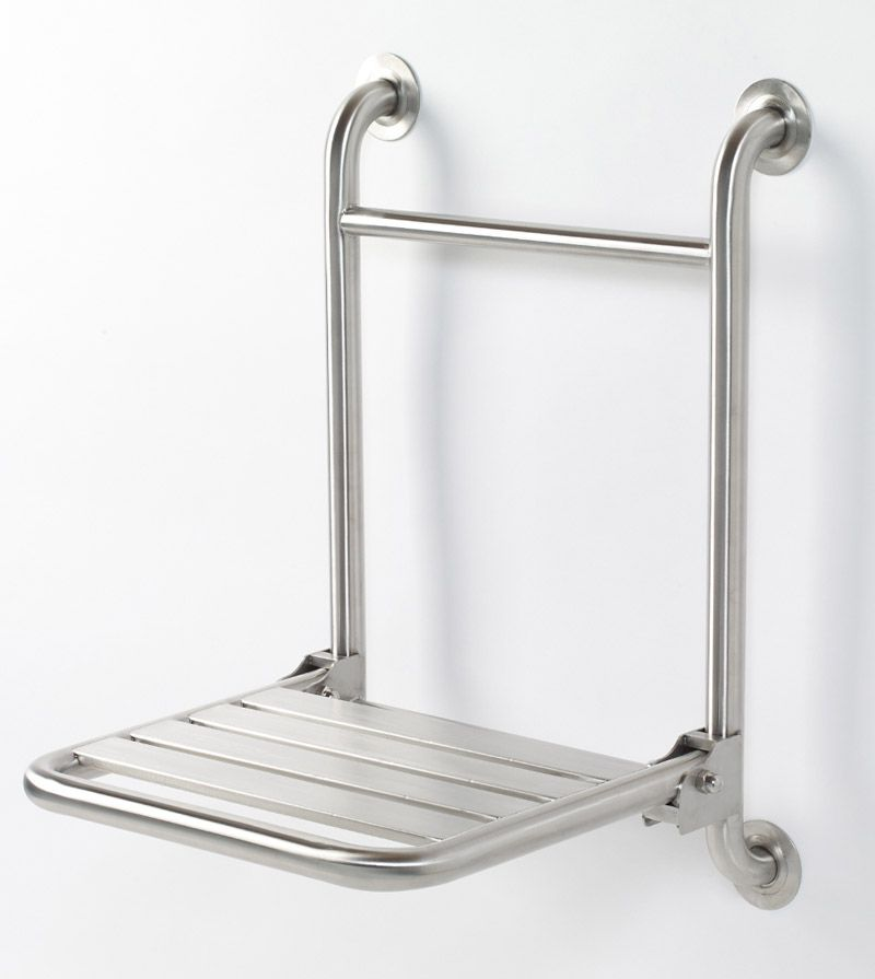 GBS wall mounted folding shower seat - 16 Inches on center allowing direct in wall stud mounting