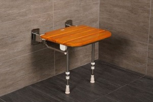 "AKW 19"" Folding Wood Slatted Shower Seat with Adjustable Legs"