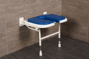 "AKW 23"" Folding U-Shaped Padded Shower Seats with Adjustable Legs"