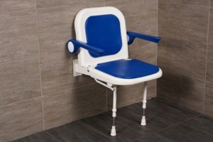 "AKW 19"" Folding Padded Shower Seats with Arms, Back and Adjustable Legs"