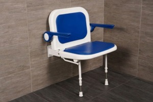 "AKW 23-3/4"" Folding Padded Shower Seats with Arms, Back and Adjustable Legs"
