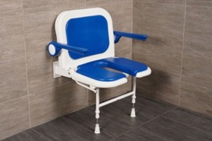 "AKW 23-3/4"" Folding U-Shaped Padded Shower Seats with Arms, Back, and Adjustable Legs"