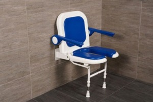 "AKW 19"" Folding U-Shaped Padded Shower Seats with Arms, Back, and Adjustable Legs"