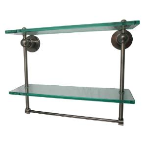 ALLIED BRASS - Astor Place Glass Shelf with Double Towel Bar - 3/8 inch thick tempered glass - 16 inch