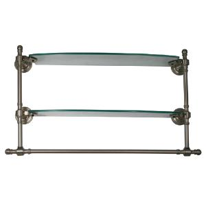 ALLIED BRASS - Retro-Wave Double Glass Shelf with integrated Towel Bar - 18 inch