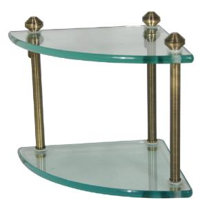 ALLIED BRASS - Southbeach Double Corner Glass Shelf - 3/8 inch thick tempered glass