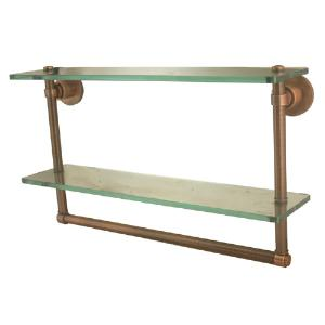 ALLIED BRASS - Washington Square Collection 16 inch Double Shelf with integrated towel bar