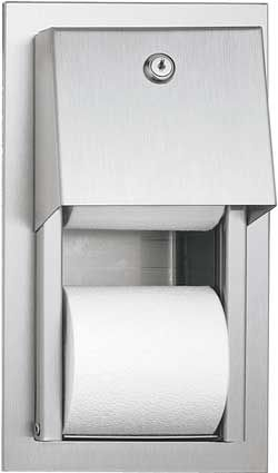 Recessed Dual Roll Toilet Paper Dispenser Stainless Steel