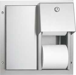 ASI Dual Access Partition Mounted Dual Roll Toilet Paper Dispenser Stainless Steel