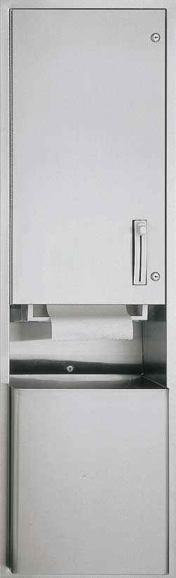 RECESSED ROLL TOWEL DISPENSER AND WASTE RECEPTACLE