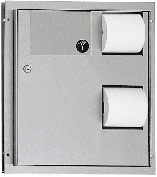 Dual Access Toilet Paper Dispenser with Napkin Disposal