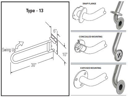 ASI Grab Bars TYPE 13 - SWING UP GRAB BARS
