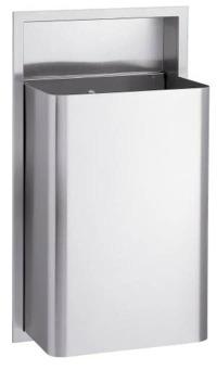 Bradley 334 Standard Series 18 Gallon Waste Receptacle with Optional Lid and Push Flap