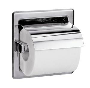 Bradley 5103 Series Recessed Mounted Single Roll Hooded Toilet Tissue Dispenser