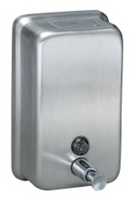 40oz Vertical Surface Mounted Satin Stainless Steel Push-In Operated Soap Dispenser