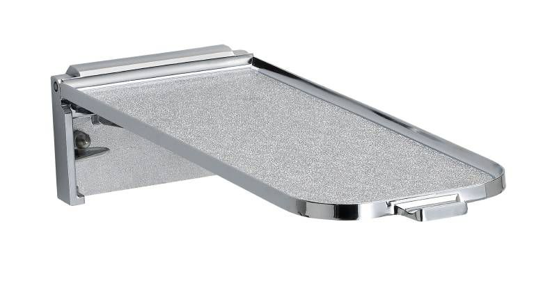 "5"" x 15"" Fold Down Utility Shelf with Chrome Plated Finish"