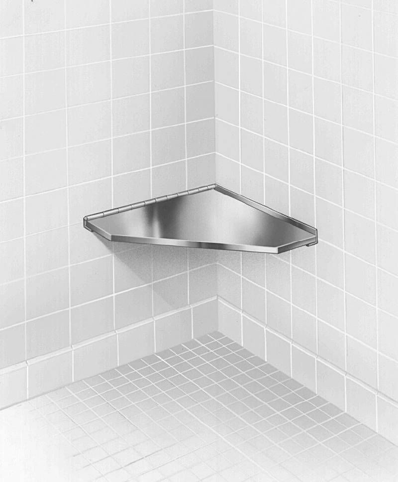 Bradley Fixed Stainless Steel Corner Shower Seat with Satin Finish
