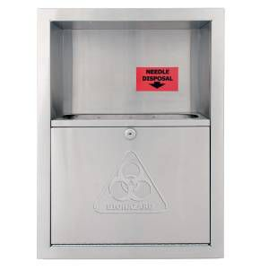 Bradley Bradex Recessed Stainless Steel Needle Disposal Cabinet with Satin Finish