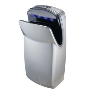 Aerix+ High Speed Vertical Dual-Sided Sensor Operated Warm Air Hand Dryer High Impact ABS Silver Finish