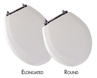 COMFORT SEATS - Deluxe Molded Wood Toilet Seat with Decorative Metal Hinges