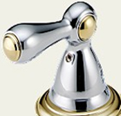 Delta H217CB Botanical Metal Lever Handle Chrome & Brilliance Polished Brass - Set of Two