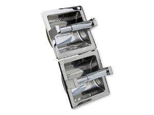TOILET TISSUE HOLDER, VERTICAL, DOUBLE, RECESSED - US32 POLISHED STAINLESS STEEL