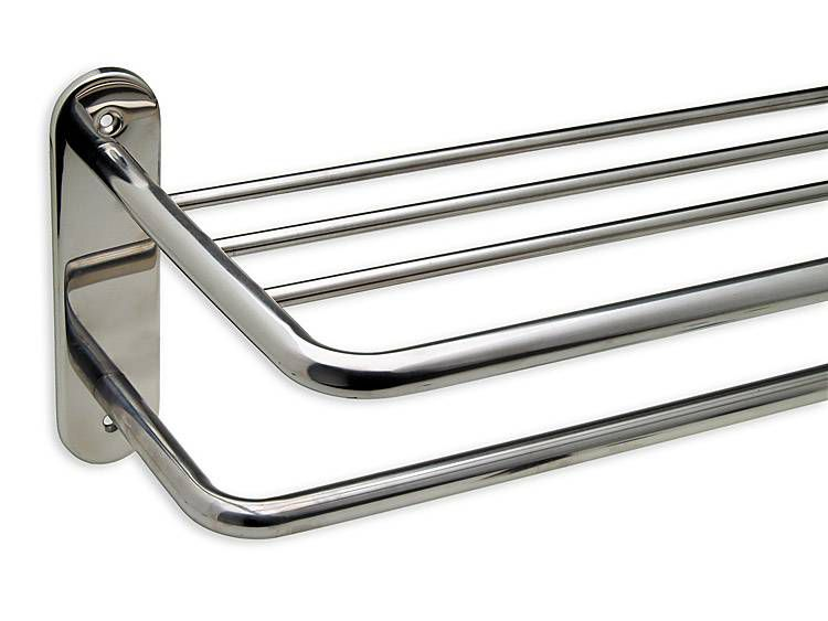 TOWEL SHELF, EXPOSED SCREW, STAINLESS STEEL, 24 inch - US32 POLISHED STAINLESS STEEL