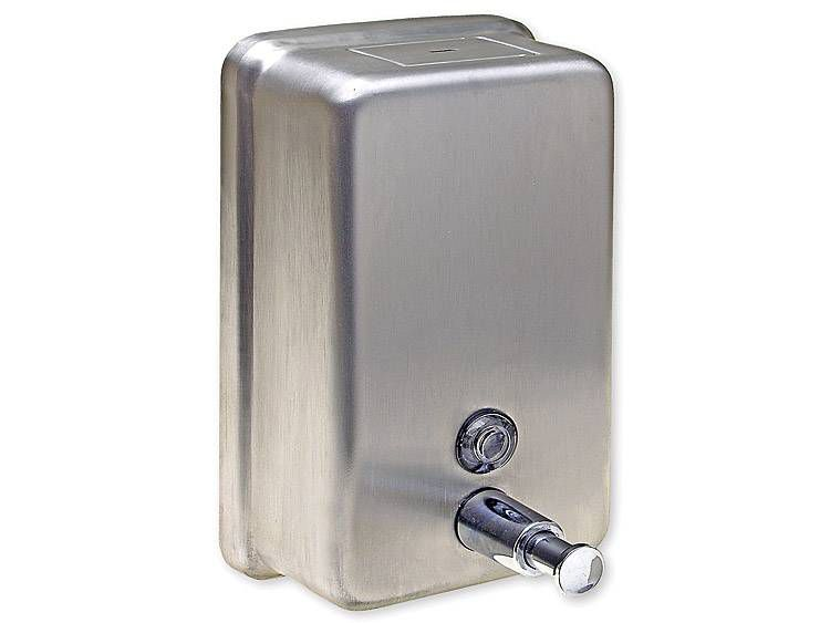 SOAP DISPENSER, VERTICAL, STAINLESS STEEL, 40 OZ - US32D BRUSHED STAINLESS STEEL