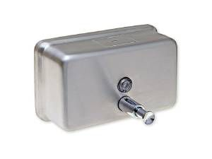 SOAP DISPENSER, HORIZONTAL, STAINLESS STEEL, 40 OZ - US32D BRUSHED STAINLESS STEEL