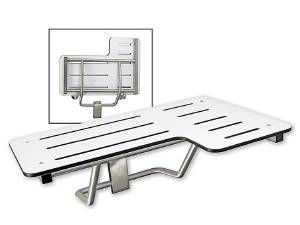 FOLDING SHOWER SEAT, PHENOLIC, STAINLESS TUBING, LEFT HAND - US32D BRUSHED STAINLESS STEEL