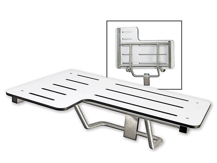 FOLDING SHOWER SEAT, PHENOLIC, STAINLESS TUBING, RIGHT HAND - US32D BRUSHED STAINLESS STEEL