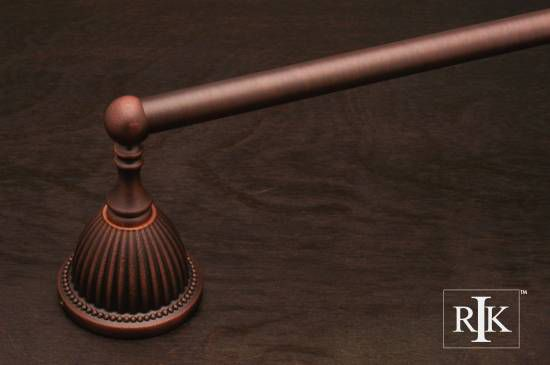 30 inch Beaded Bell Base Single Towel Bar - Distressed Copper