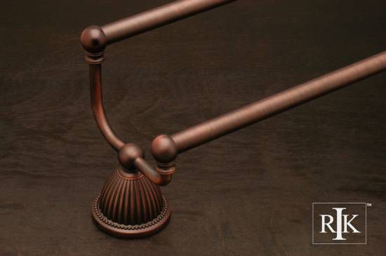 24 inch Beaded Bell Base Double Towel Bar - Distressed Copper