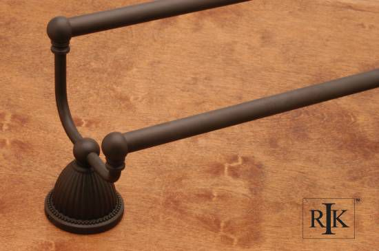 24 inch Beaded Bell Base Double Towel Bar - Oil Rubbed Bronze