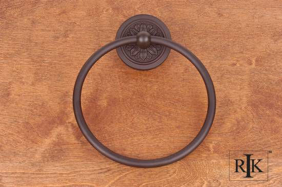 Flower Base Towel Ring - Oil Rubbed Bronze