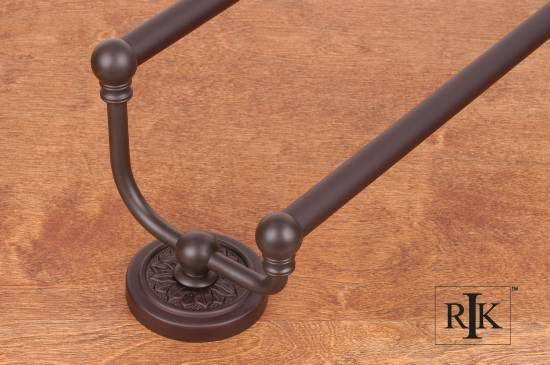 24 inch Flower Base Double Towel Bar - Oil Rubbed Bronze
