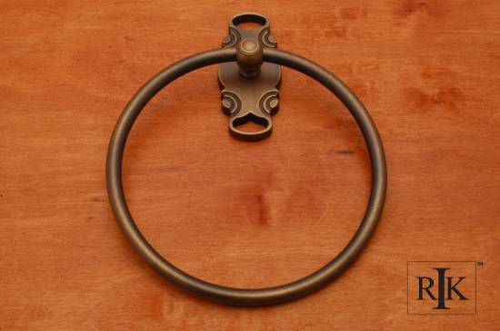 French Curve Base Towel Ring - Antique English