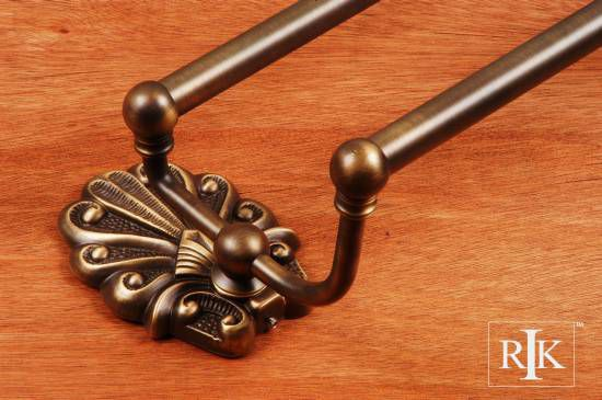 24 inch Peacock Base Double Towel Bar - Antique English