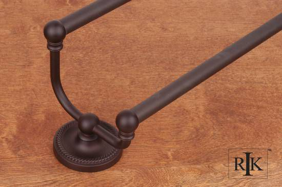 24 inch Rope Base Double Towel Bar - Oil Rubbed Bronze