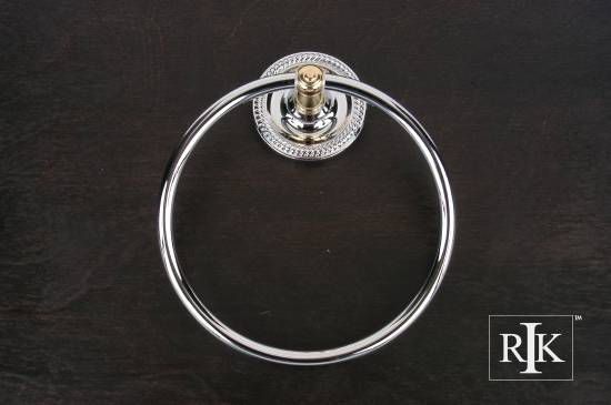 Rope Base Towel Ring - Chrome & Brass