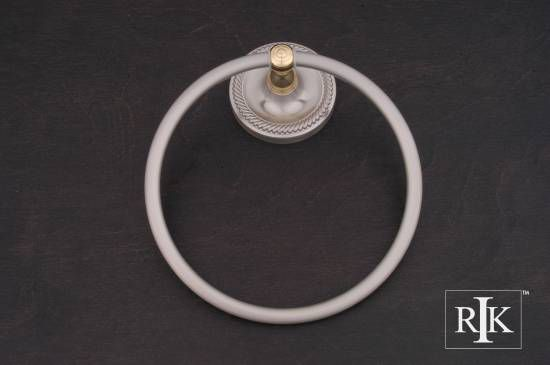 Rope Base Towel Ring - Pewter & Brass