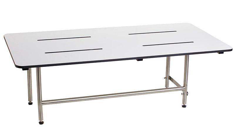 "Seachrome 18"" x 15"" Bench Style White Phenolic Folding Shower Seat with Swing Down Legs"