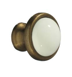 KNOB ANTIQUE BRASS FINISH WHITE CERAMIC 1 1/2 In.