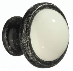 KNOB PEWTER FINISH WHITE CERAMIC 1 1/2 In.
