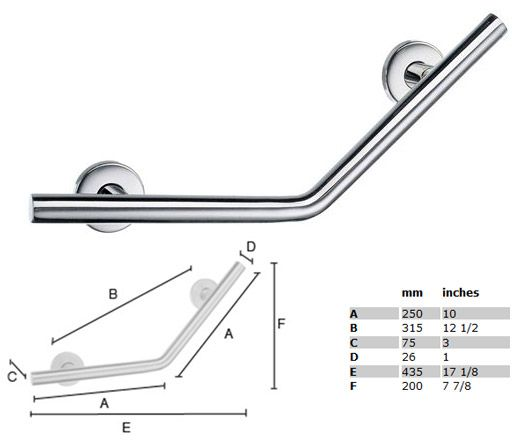 Living Straight/Long V-Form Grab Bar - STAINLESS STEEL POLISHED